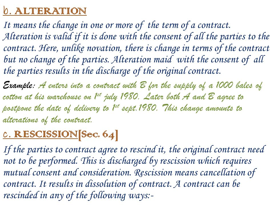 Mutual Rescission of Contract for use in India.